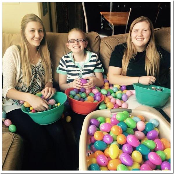 Easter filling eggs